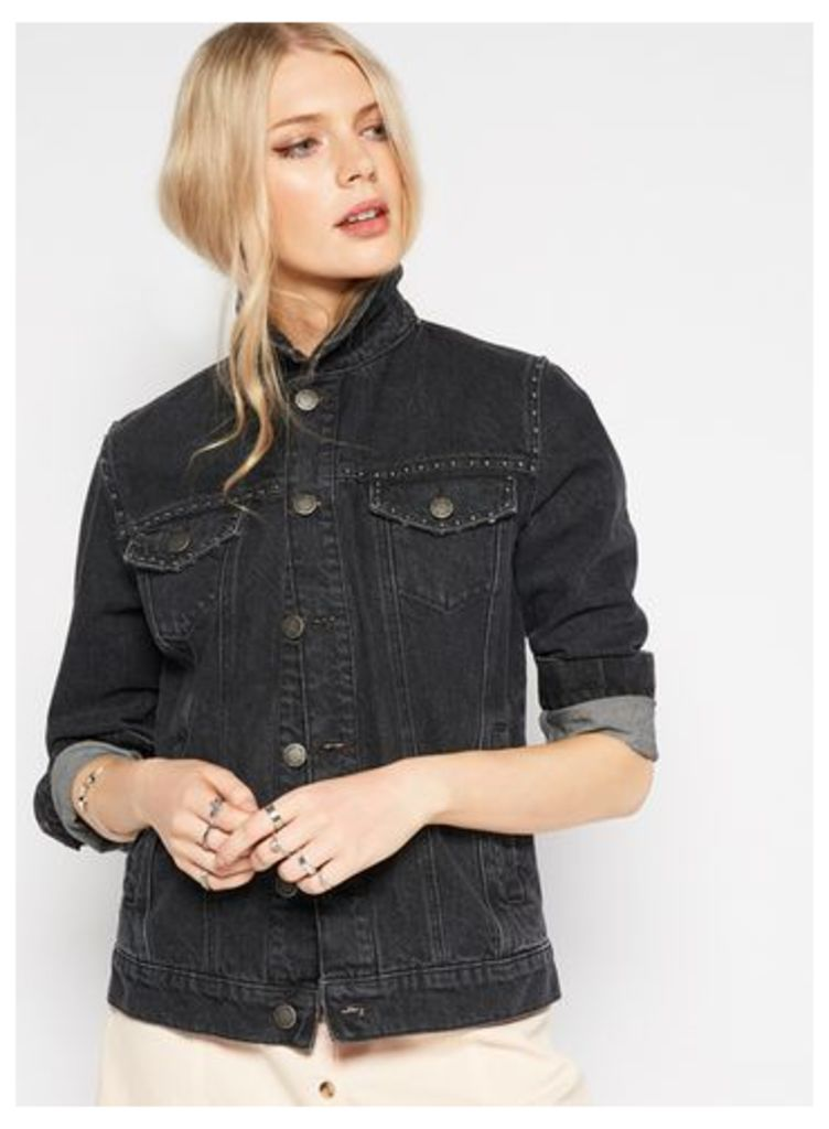 Womens Black Studded Denim Jacket, Black
