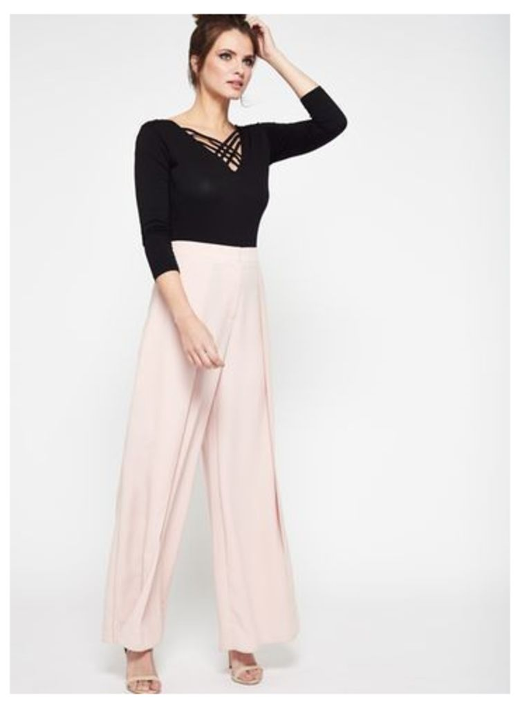 Womens Blush Split Front Wide Leg Trousers, Pink