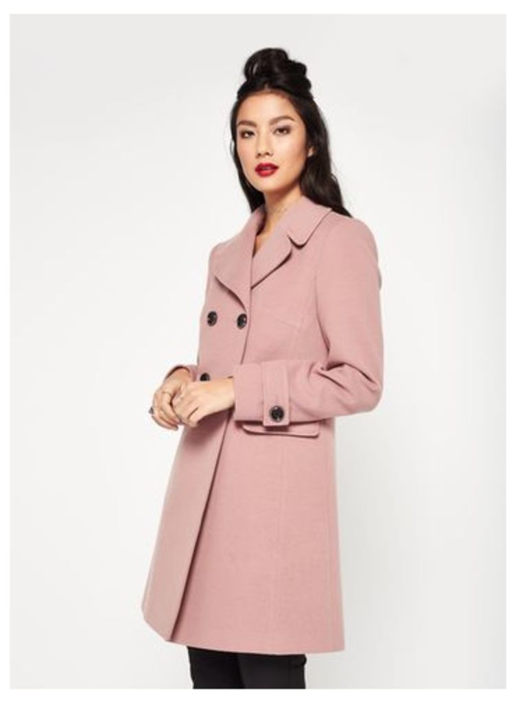 Womens Pink Revere Collar Coat, Pink