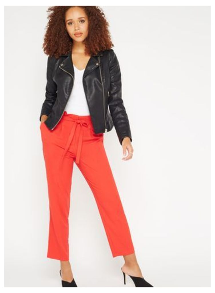 Womens Red Paper Bag Trousers, Red