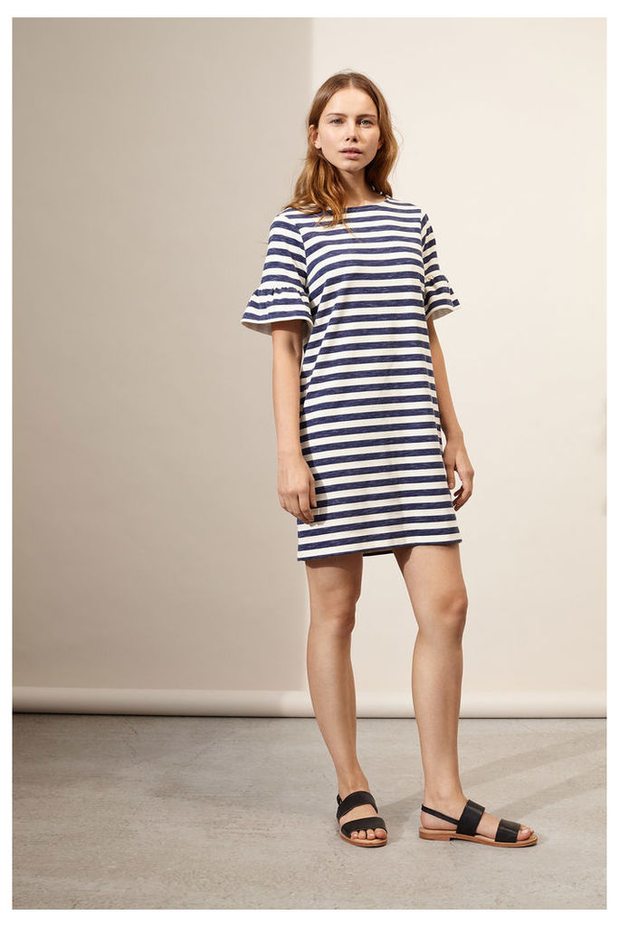 Indigo-Striped Bell Sleeve Shift Dress