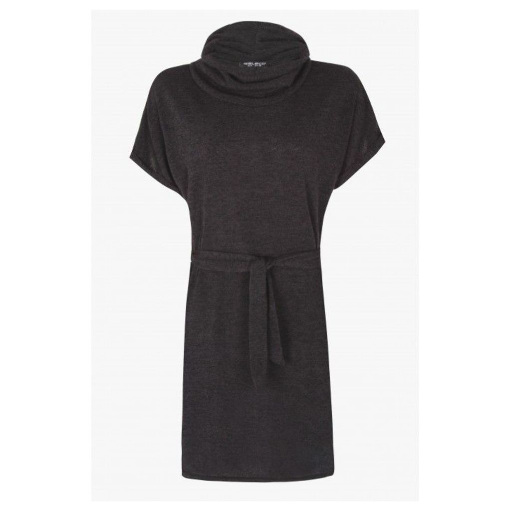 BRUSHED COWLNECK TUNIC DRESS