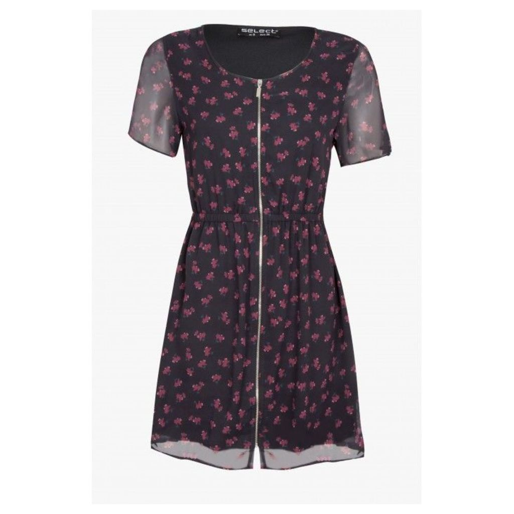 FLORAL ZIP FRONT TEA DRESS