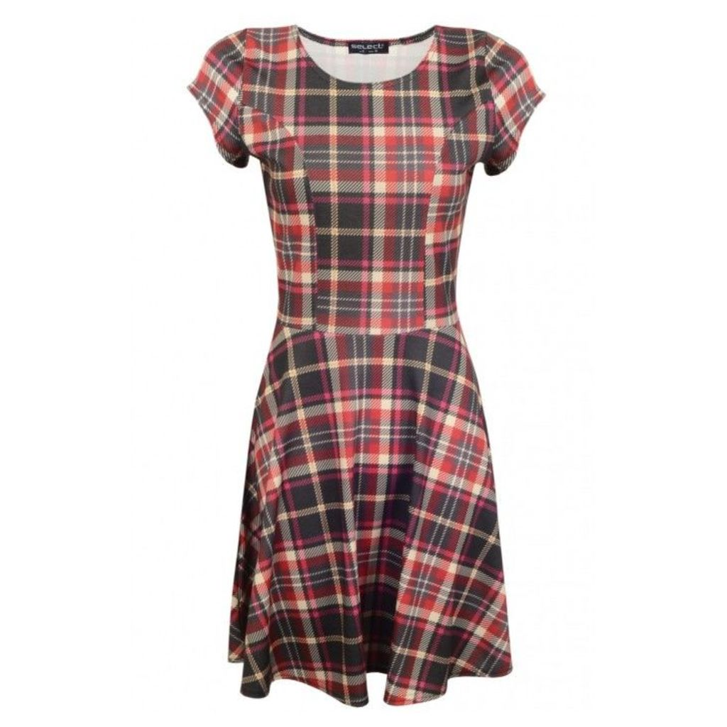 TARTAN FITTED SKATER DRESS