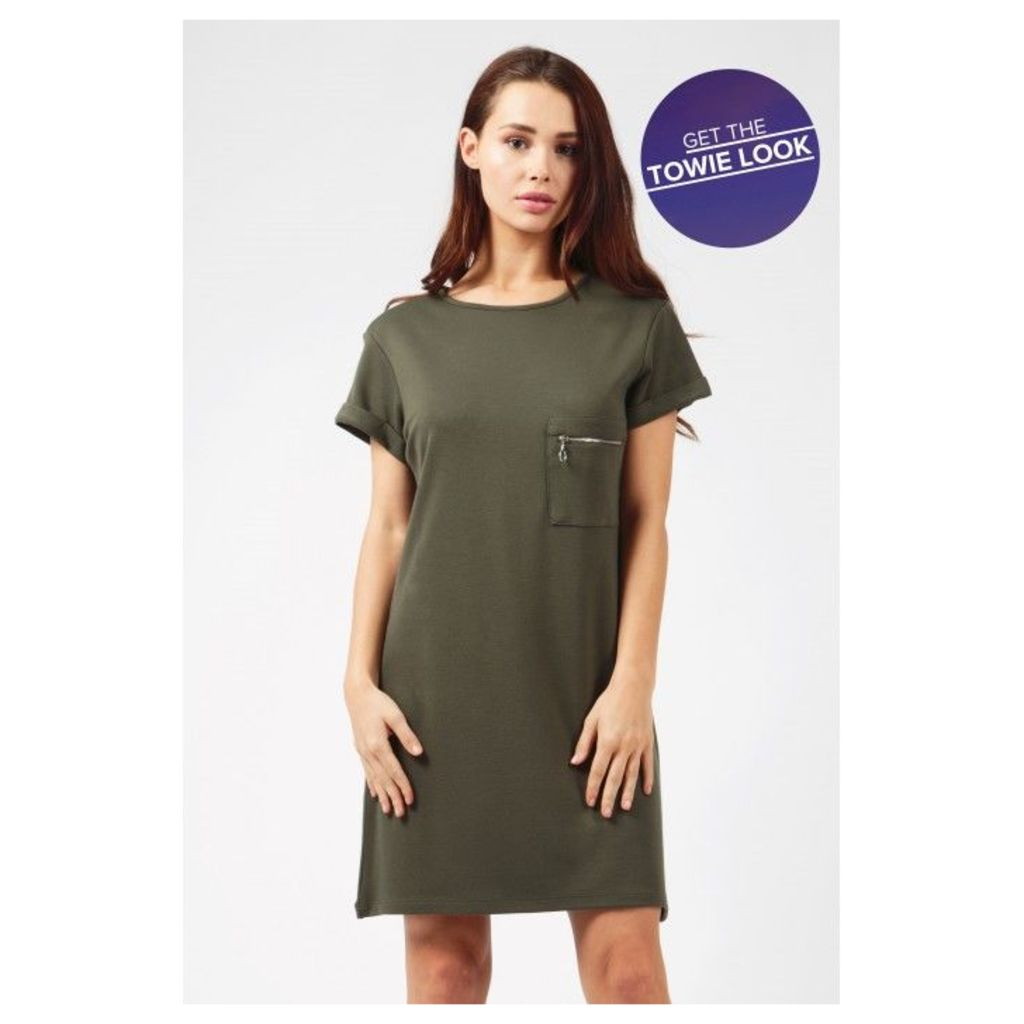 PONTI ZIP POCKET TUNIC DRESS