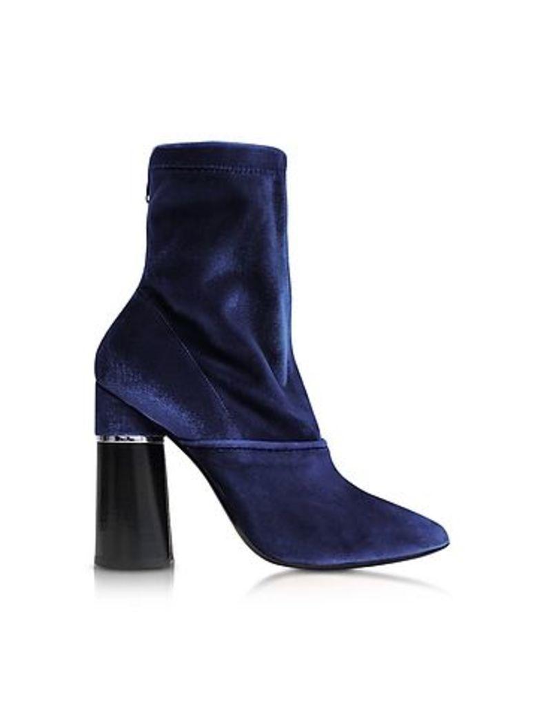 3.1 Phillip Lim - Kyoto Royal Blue Velvet Stretch High Heel Ankle Boots