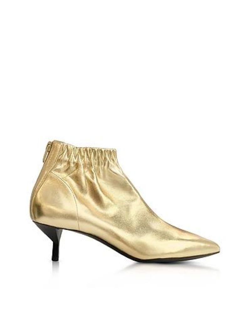 3.1 Phillip Lim - Blitz Gold Metallic Leather Kitten Heel Booties