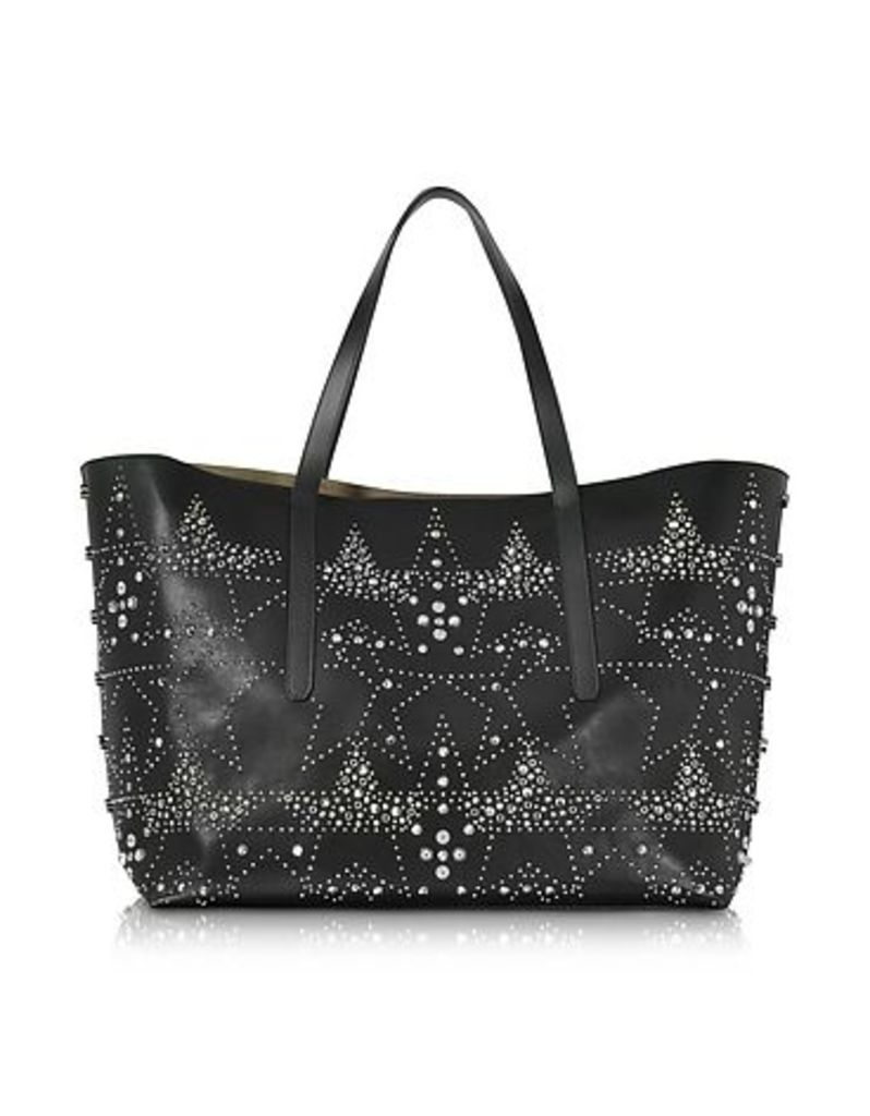 Jimmy Choo - Pimlico Rock Black Leather Large Tote w/Graphic Star Studded Embellishment