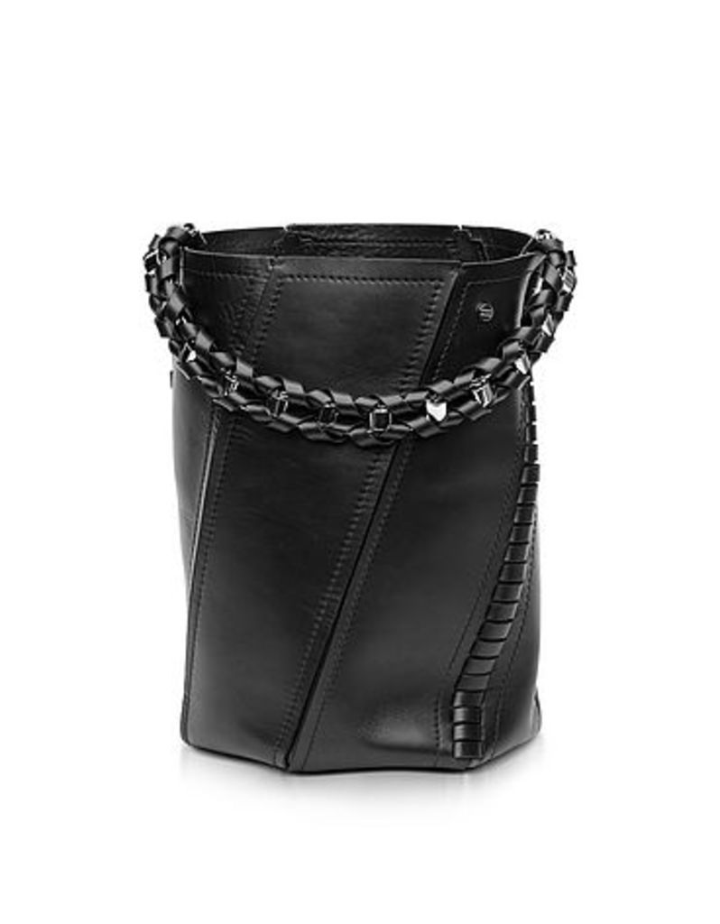Proenza Schouler - Black Leather Medium Hex Bucket Bag w/Whipstitch