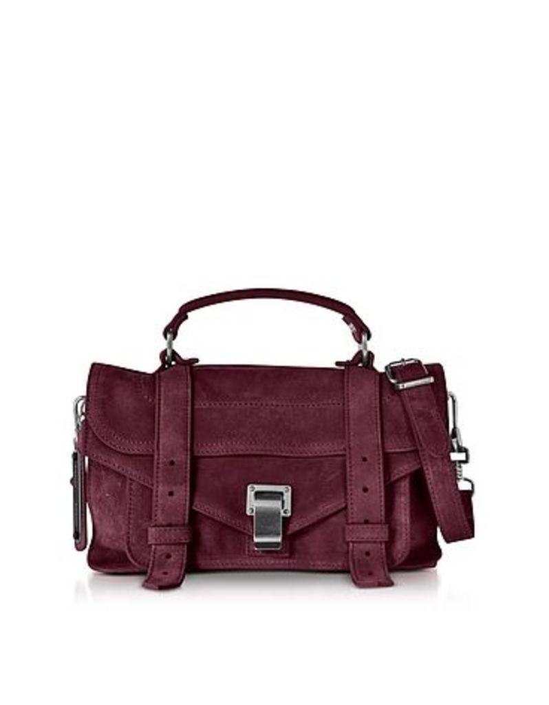 Proenza Schouler - PS1 Medium Dark Grape Suede Satchel Bag