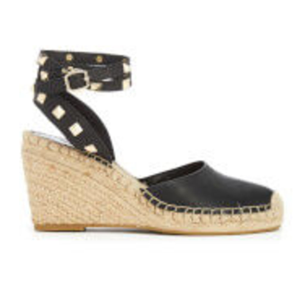 Ash Women's Whitney Leather Espadrille Wedges - Black