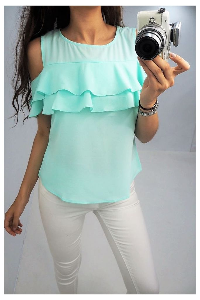 Una chiffon cold shoulder frill top