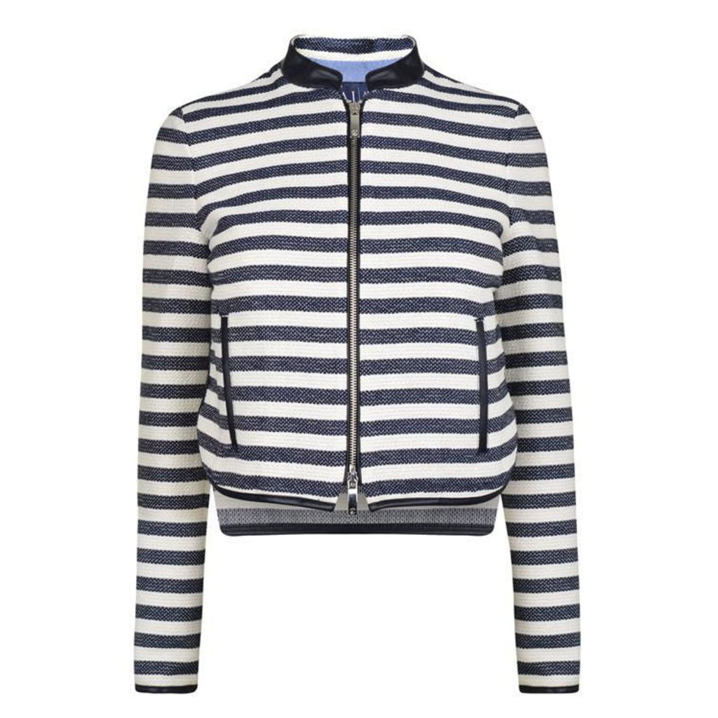 ARMANI JEANS Striped Cropped Blazer
