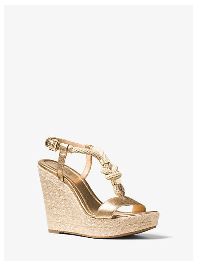 Holly Rope-Trim Metallic Leather Wedge