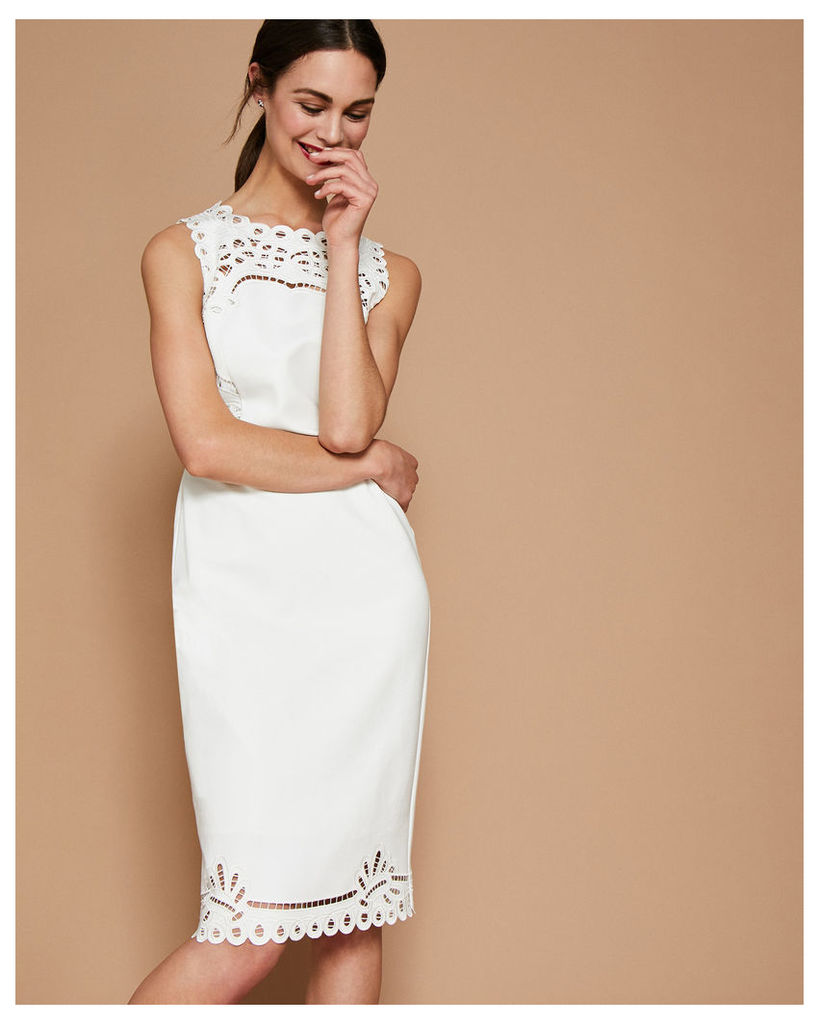 Ted Baker Embroidered bodycon dress Cream
