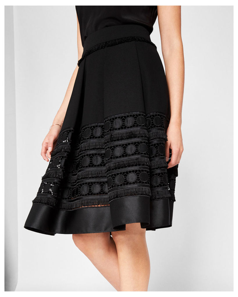 Ted Baker Circle lace panel skirt Black