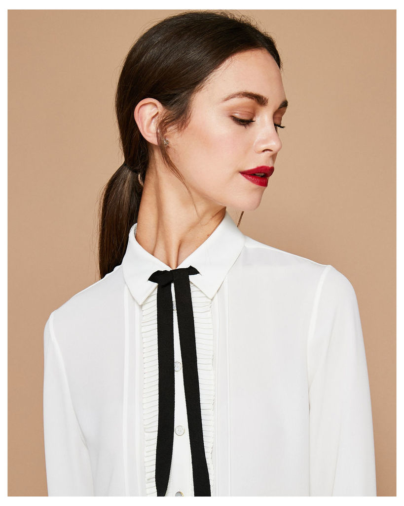 Ted Baker Frill front blouse White