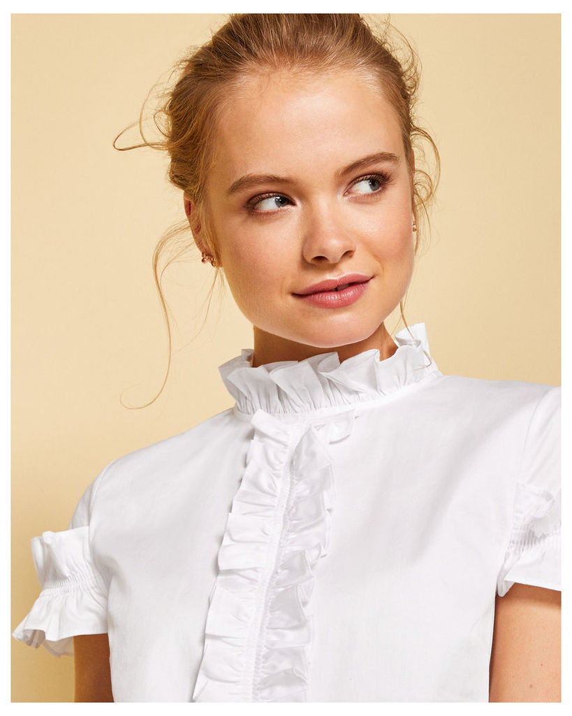 Ted Baker Frill detail cotton blouse White