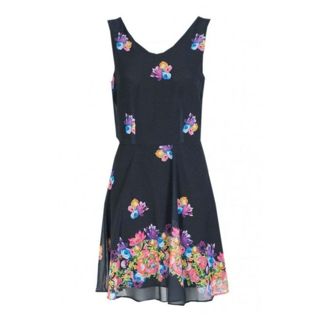 BORDER FLORAL CHIFFON DRESS