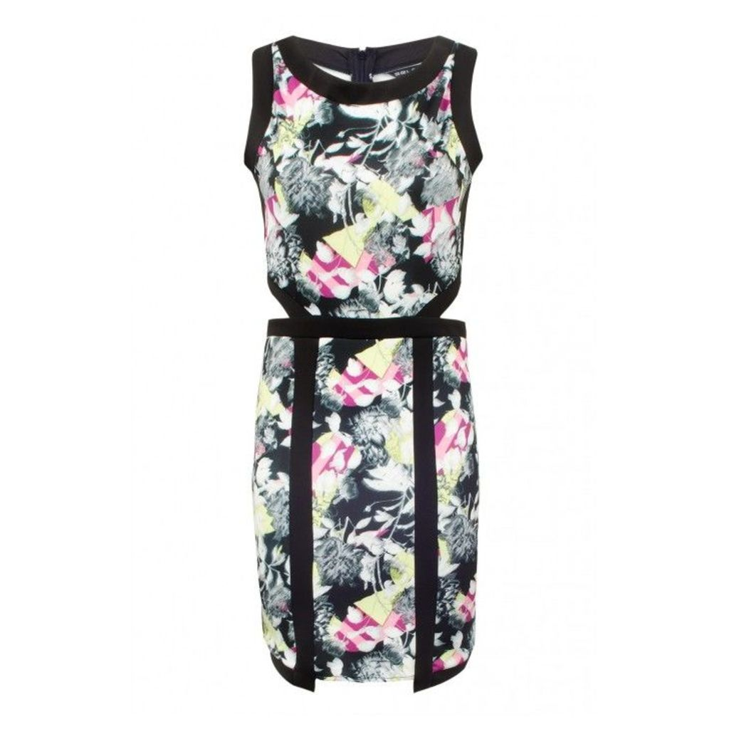 FLORAL SCUBA CUTOUT MINI DRESS