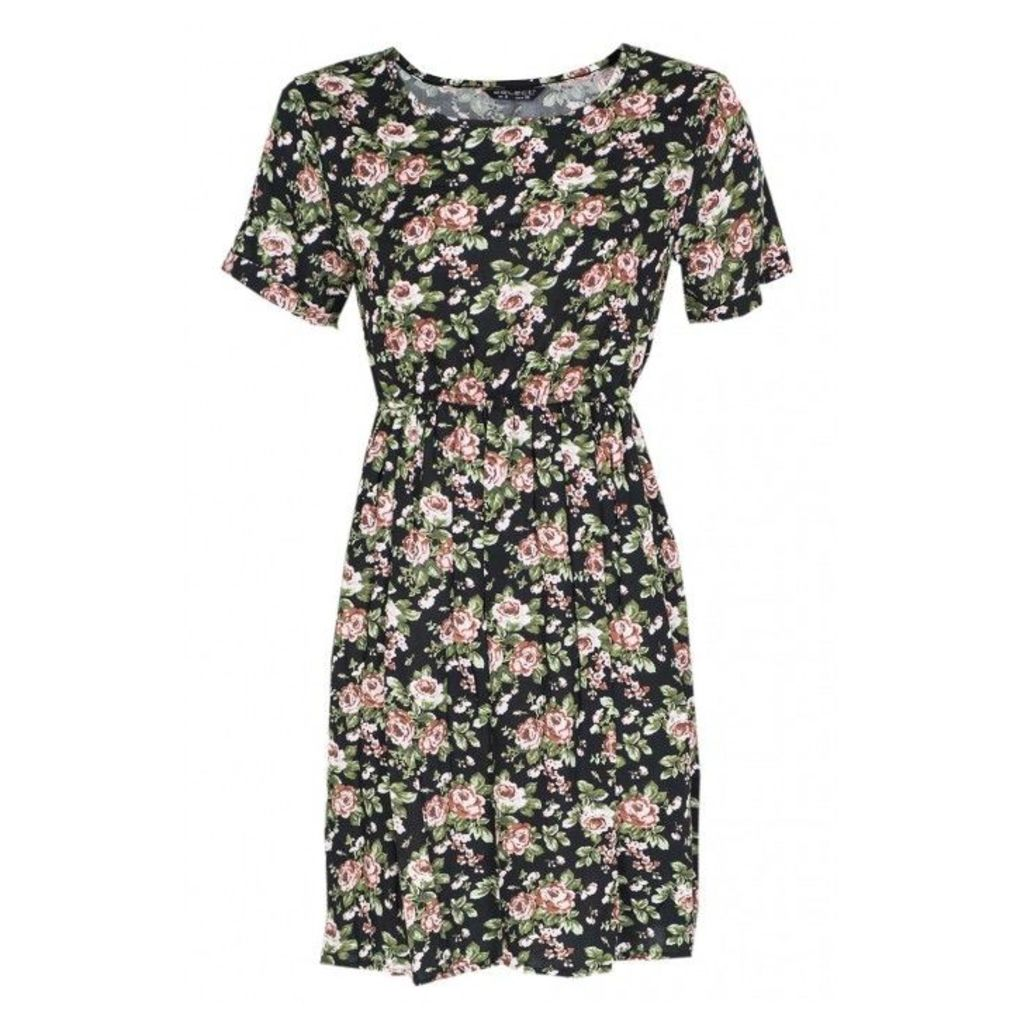 FLORAL RAYON TURNBCK SLV DRESS