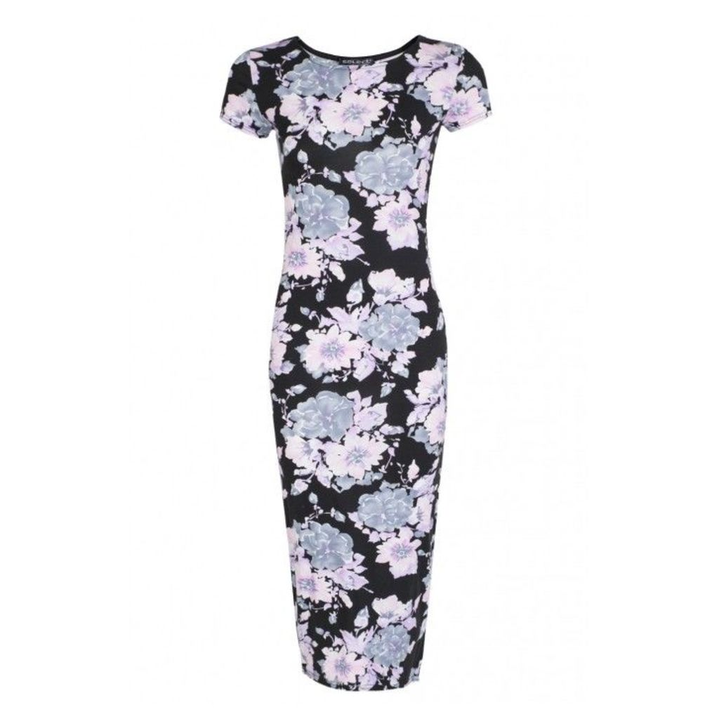FLORAL CAP SLV MIDI DRESS