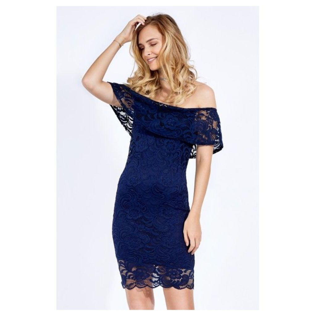 LACE FRILL BARDOT BODYCON DRESS