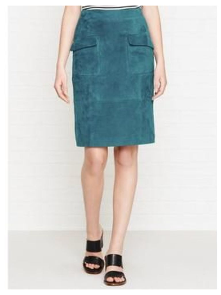 Reiss Lake Suede Pencil Skirt - Blue