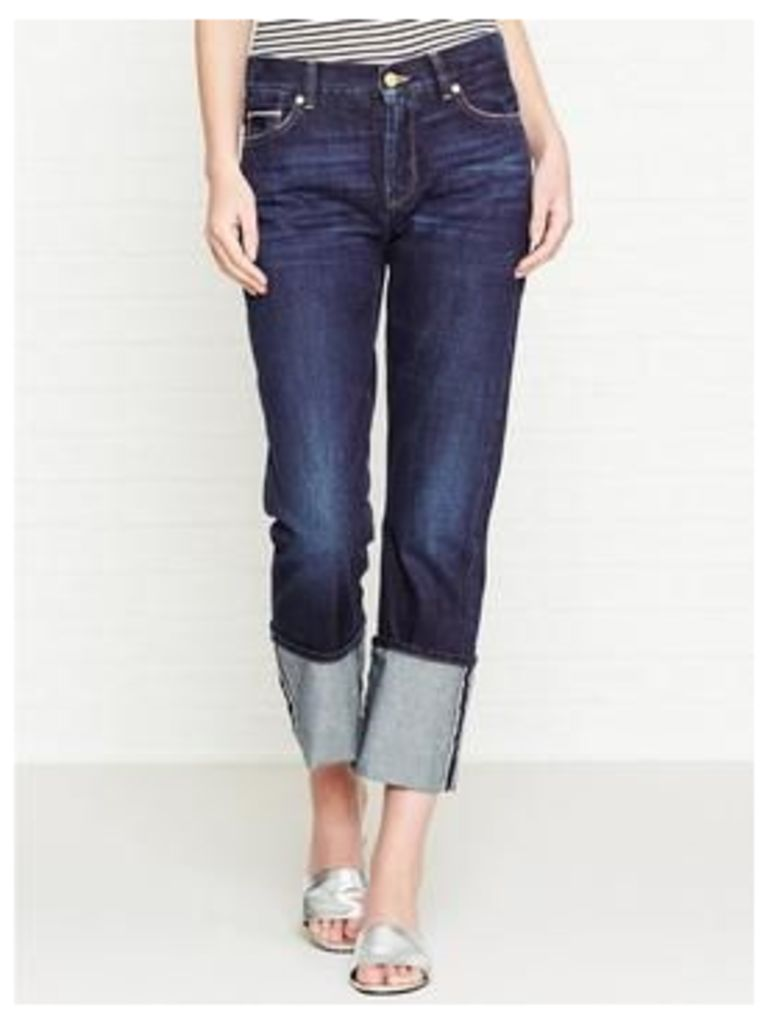 7 For All Mankind Roll Up Straight Legs Jeans With Turn Up Hem - Selvedge Dark