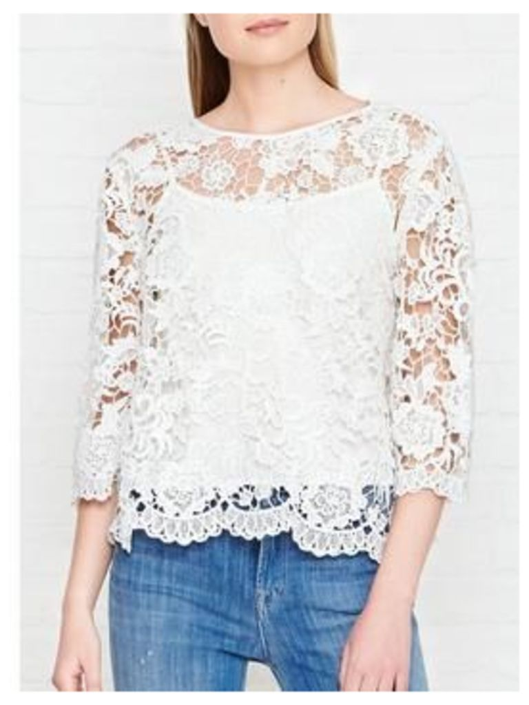 Needle & Thread Floral Lace Top - Chalk
