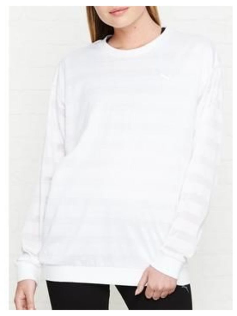 Puma Burn Out Long Sleeve Crew Top - White