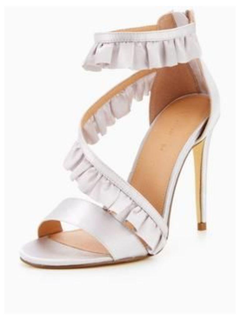 V by Very Gisele Asymmetric Frill Heeled Sandal - Silver Metallic, Silver, Size 3, Women