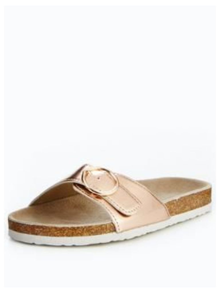 V by Very Tabby Footbed Twist Flat Sandal - Rose Gold, Rose Gold, Size 3, Women