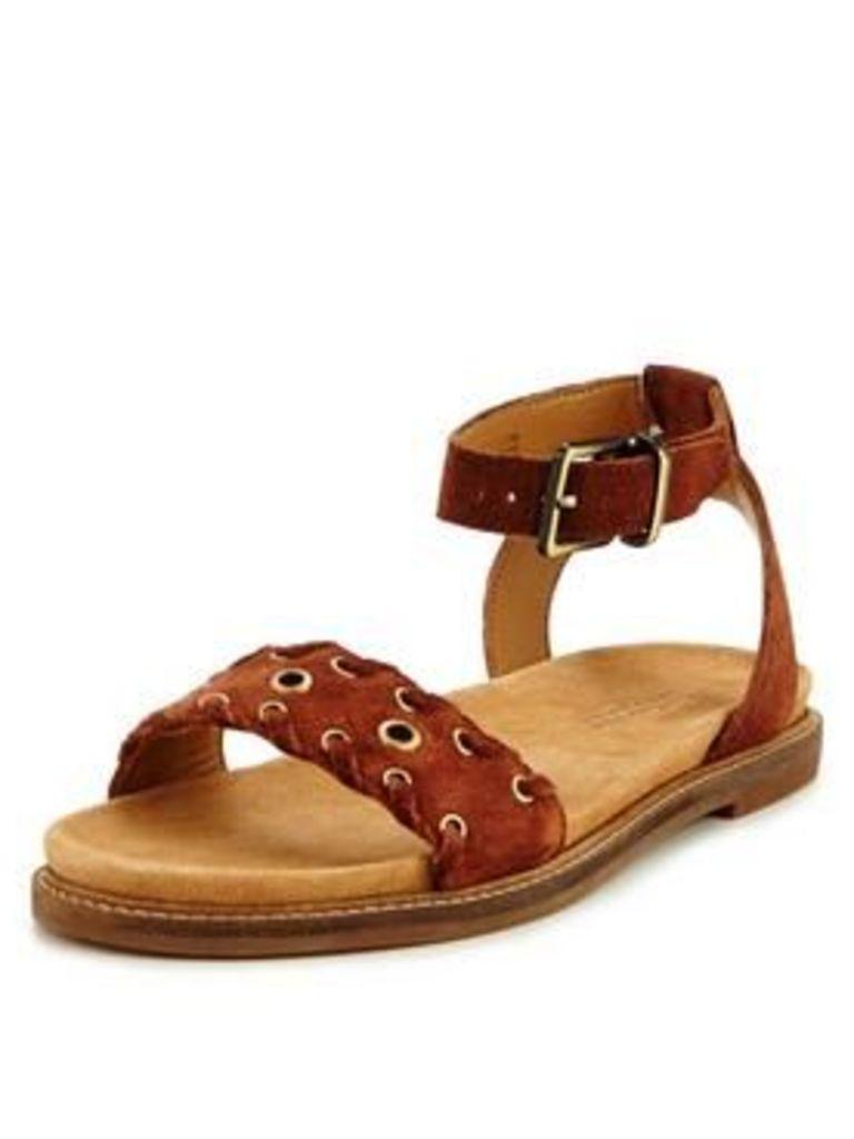 Clarks Clarks Corsio Amelia Suede Rivet Flat Sandal, Dark Tan, Size 4, Women