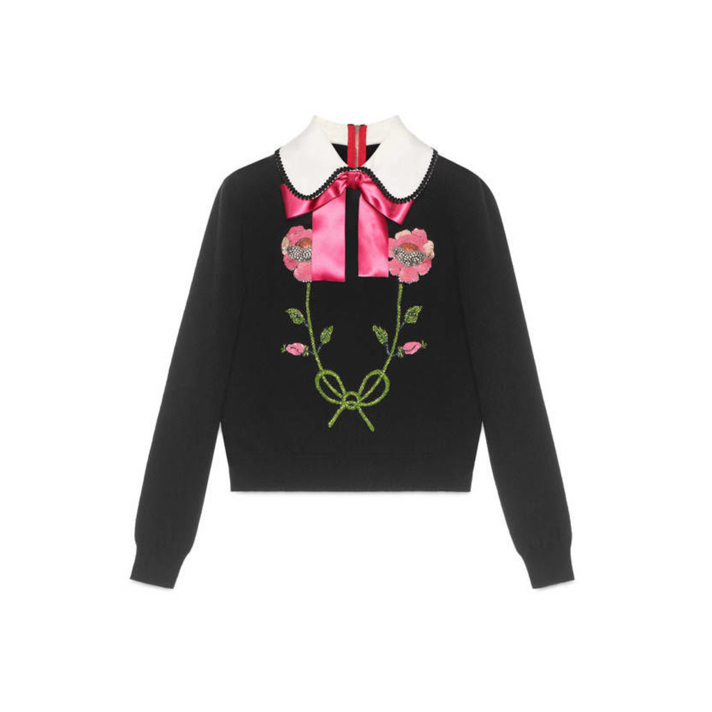 Embroidered cashmere wool knit top