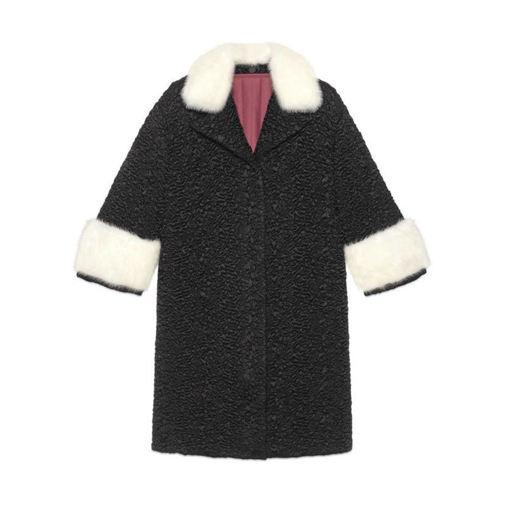 Quilted nylon coat with mink