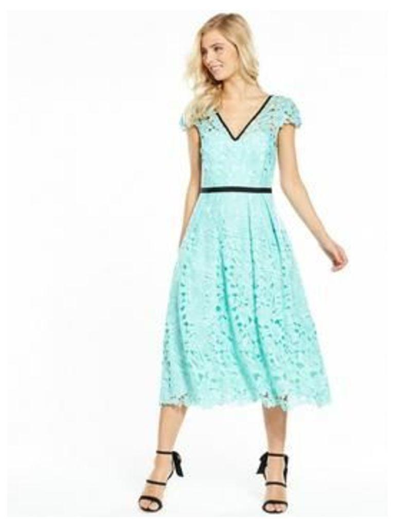 V by Very V Neck Lace Midi Dress, Turquoise, Size 8, Women