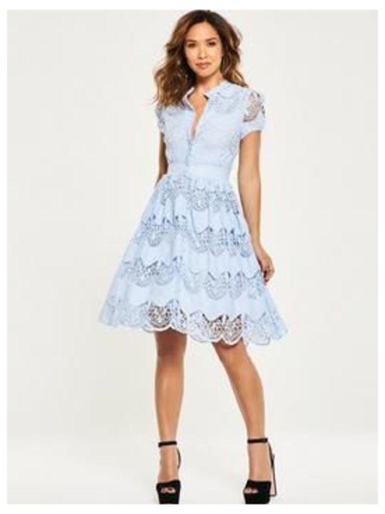 Myleene Klass Tiered Lace Skater Dress - Blue, Blue, Size 12, Women