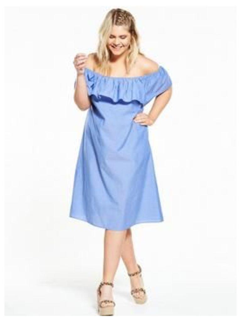 AX PARIS CURVE Bardot Dress, Blue, Size 26, Women