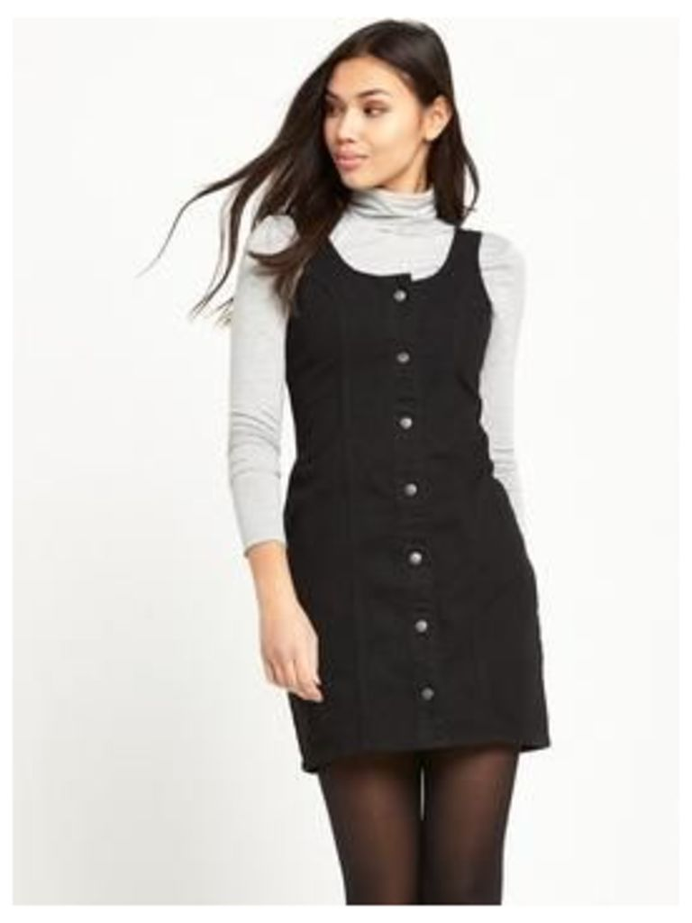 Glamorous Button Up Pinafore Dress - Black, Black, Size 14, Women