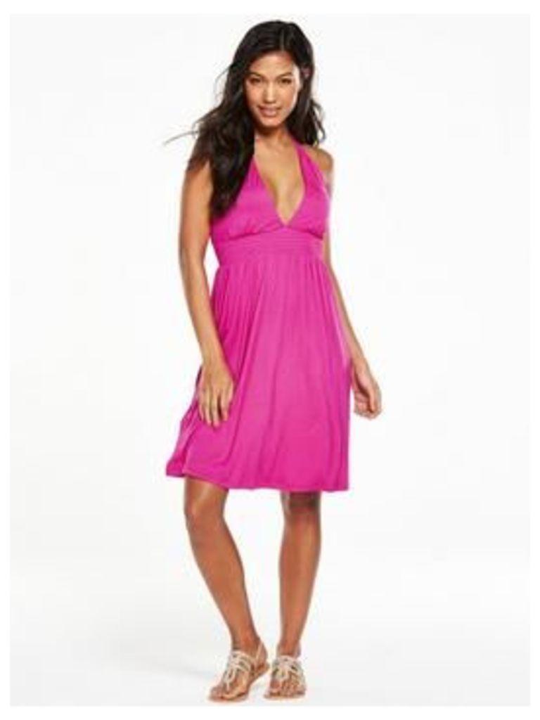 V by Very Babydoll Jersey Halter Beach Dress, Pink, Size 22, Women