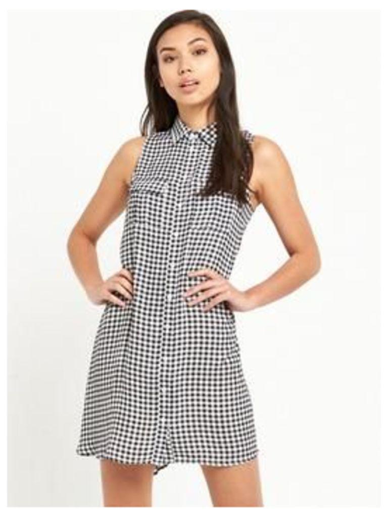 Glamorous Gingham Sleeveless Swing Dress , Black, Size 12, Women