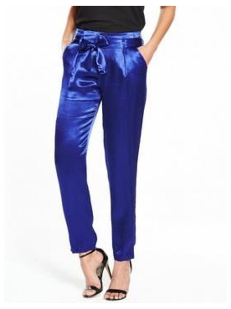 V by Very Satin Tie Waist Trouser - Blue, Blue, Size 8, Women