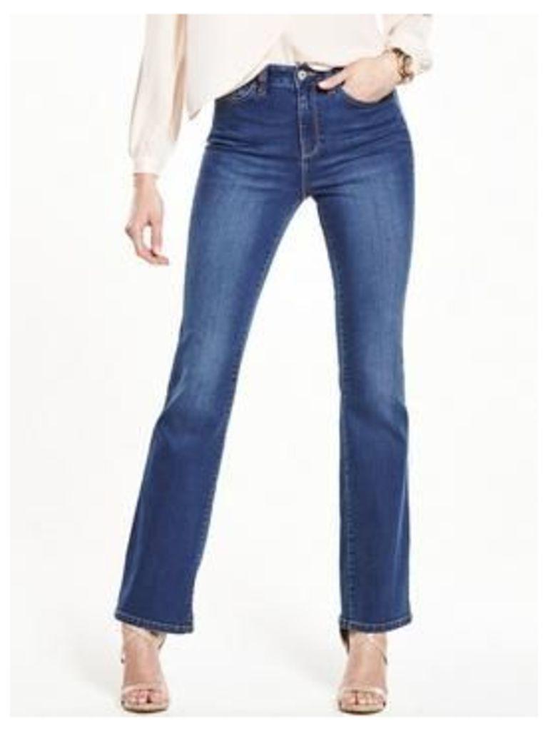 V by Very Harper High Rise Bootcut Jean, Black, Size 18, Inside Leg Long, Women
