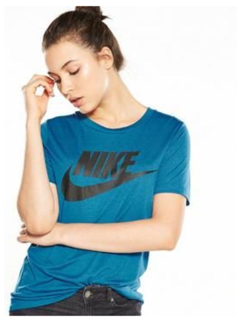 Nike Sportswear Essential Logo T-Shirt, Teal, Size Xs, Women