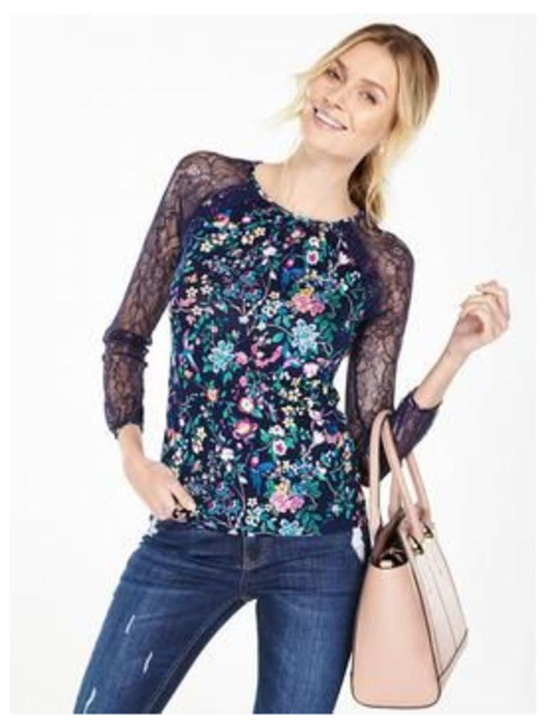 V by Very Lace Raglan Long Sleeve Top, Print, Size 20, Women