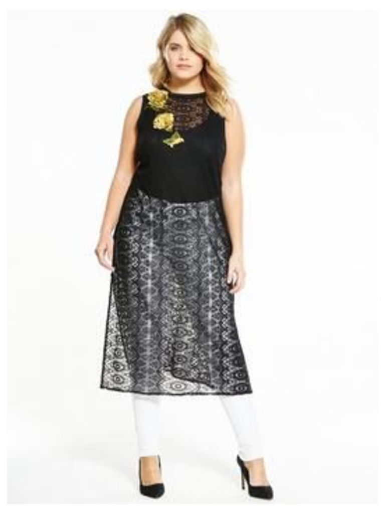 ELVI Curve Lace Longline Top with Floral Embroidery, Black, Size 14, Women