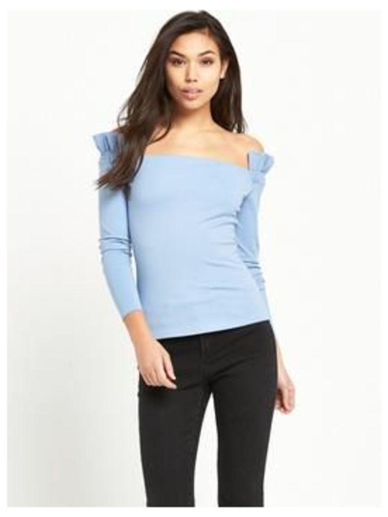 Lost Ink Shirred Sleeve Bardot Top - Light Blue, Light Blue, Size 10, Women