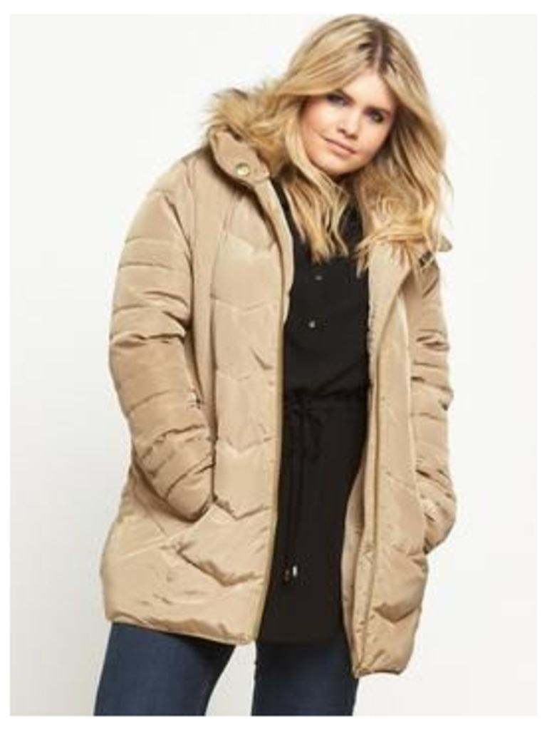 V by Very Curve Short Padded Belted Coat - Stone, Stone, Size 26, Women