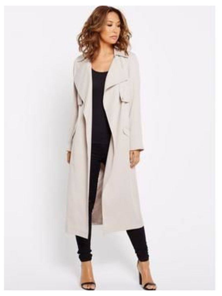 Myleene Klass Drape Front Midi Duster Coat, Stone, Size 10, Women